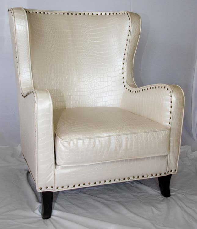 White Alligator Wingback Chairs