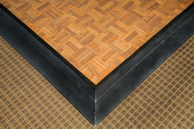 Oak Parquet Indoor/Outdoor Dance Floor with Black Trim